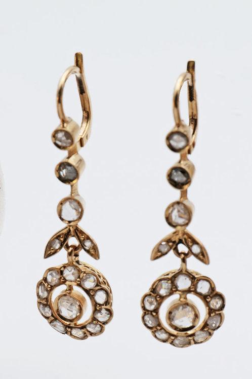 Edwardian Diamond Cluster ear rings
