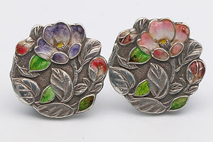 Japanese champlevé silver and enamel buttons. Marked 'jungin' pure silver Meiji period