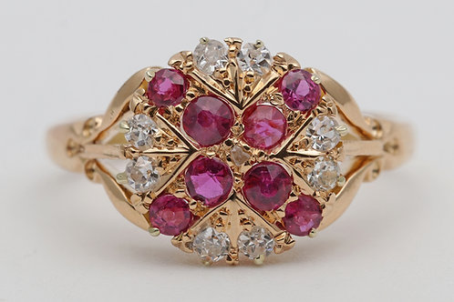 Early 20th century 18ct gold ruby and diamond dress ring