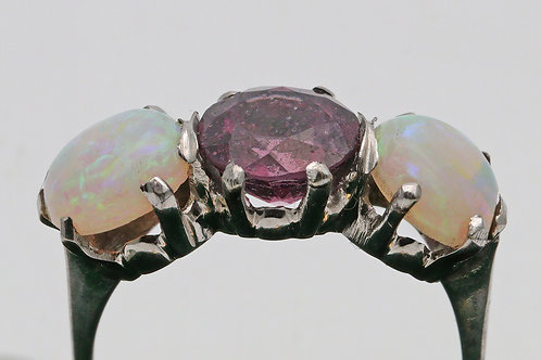 Art Deco period pink tourmaline and Australian opal ring in white gold