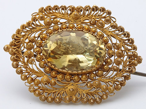 Citrine cannetille work brooch, c. 1835