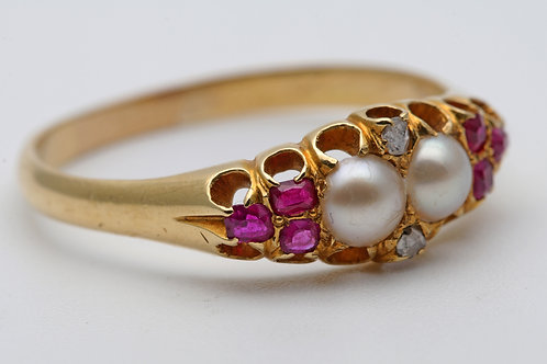 Victorian Ruby, Pearl and Diamond Ring