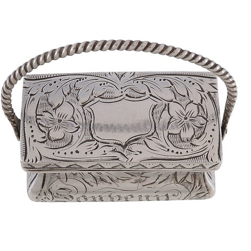 Early Victorian silver bag vinaigrette by Gervase Wheeler
