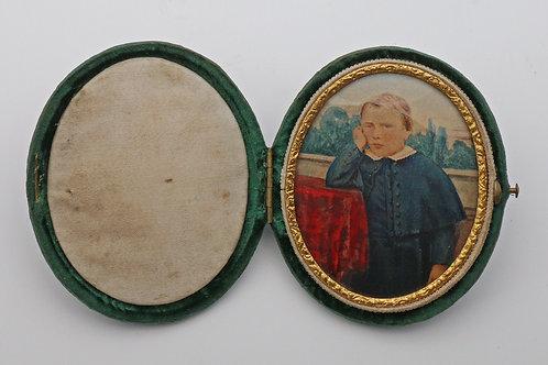 Miniature watercolour of Victorian boy