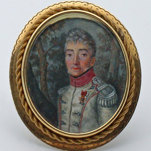 Miniature hand painted watercolour of an officer