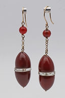 Dangle earrings on 9ct gold wires with carnelians