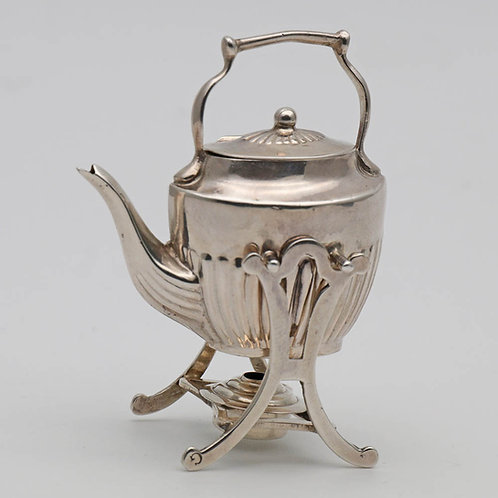 Edwardian silver miniature toy tipping kettle
