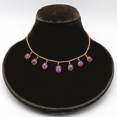 Victorian amethyst fringe gold necklace
