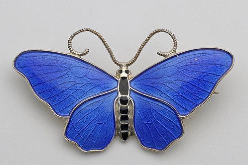 Finn Jensen Norwegian silver and enamel butterfly brooch
