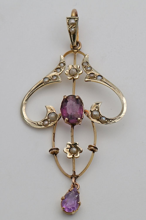 Art Nouveau gold amethyst and pearl pendant