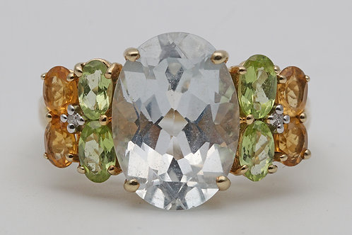 Topaz, peridot and citrine gold ring