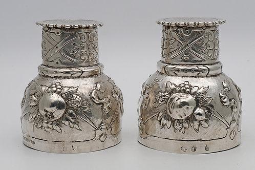 Unusual Victorian silver beakers
