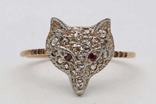 Novelty fox ring 15ct 1960s