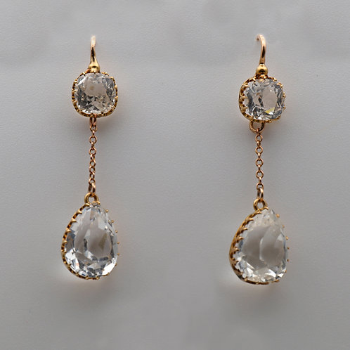 Gold and Rock Crystal Ear Rings