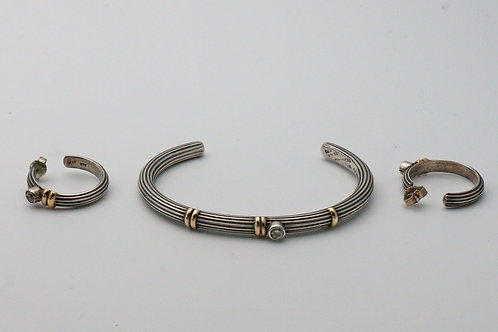 Silver bangle and earring set