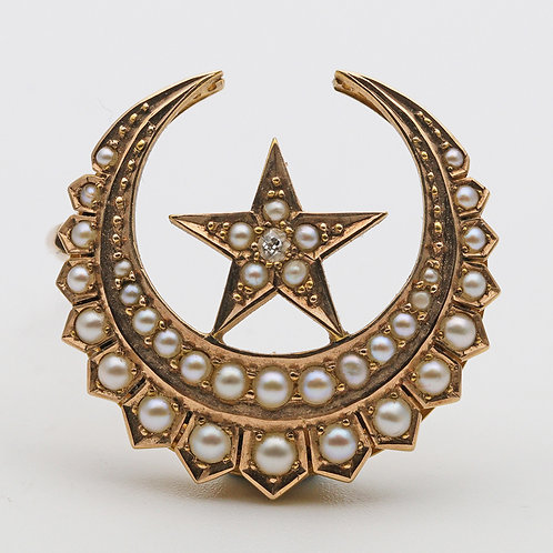 Edwardian Star & Crescent Moon Brooch