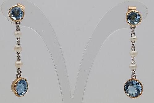 Edwardian pearl and aquamarine drop earrings