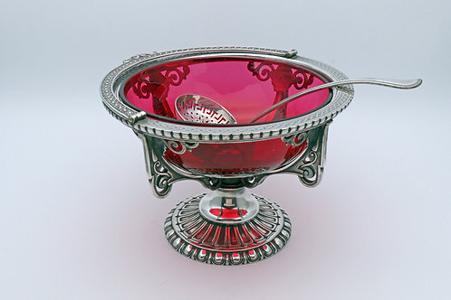 Elkington and Co silver plate basket with cranberry lining