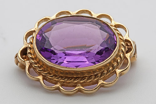 Amethyst Gold Mounted Brooch