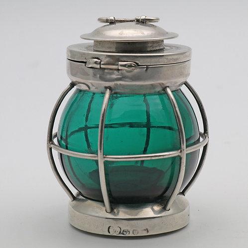 Ship's Lamp Novelty Glass Silver Vesta Match Striker