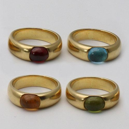 Set of four vari-gem set band rings