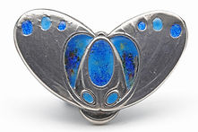 Charles Payton silver and enamel Art Nouveau brooch of a stylised butterfly.