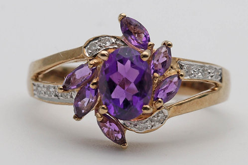 Vintage amethyst and diamond gold dress ring