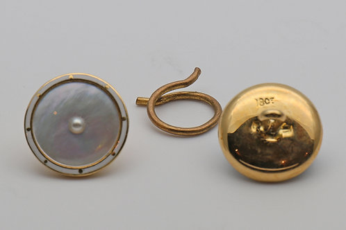 Set of mother of pearl and enamel dress buttons