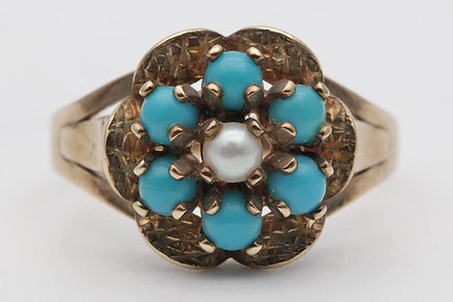 Antique gold, turquoise and pearl cluster ring