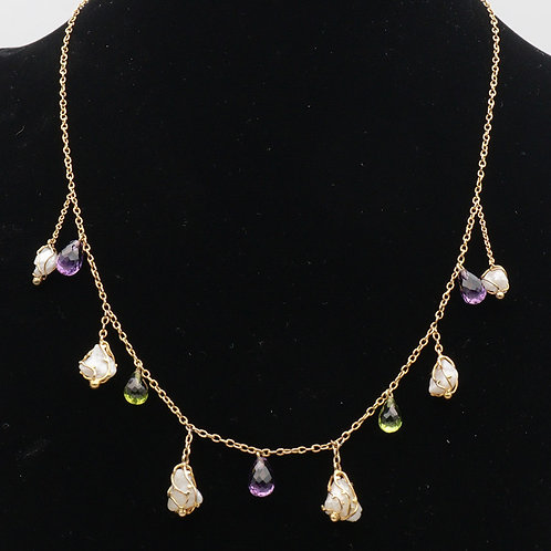 Baroque pearl, amethyst and peridot gold necklace