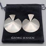 Silver disc ear rings by Hans Hansen for Georg Jensen c.1990