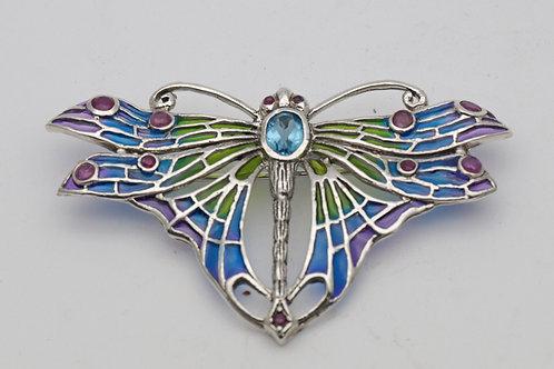 Plique-a-jour enamel butterfly brooch