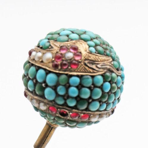 Turquoise Set Orb Hair Pin