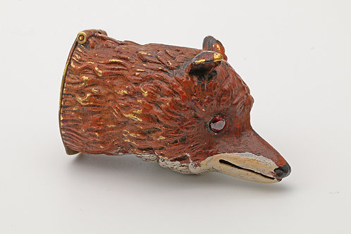 Painted brass fox head vesta case