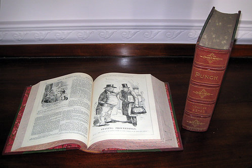 Complete set of Leather-bound Punch Magazine Volumes