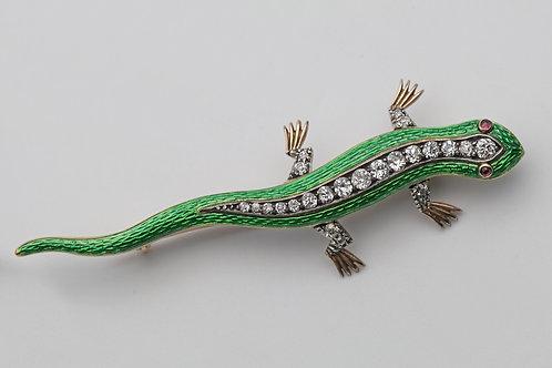 Victorian gold, diamond and enamel salamander