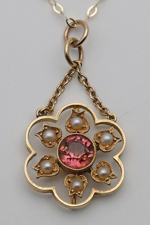 Art Nouveau gold necklace with tourmaline and pearl pendant