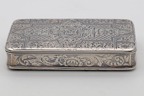 Silver niello snuff box