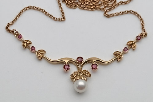 9ct gold cultured pearl and ruby necklace