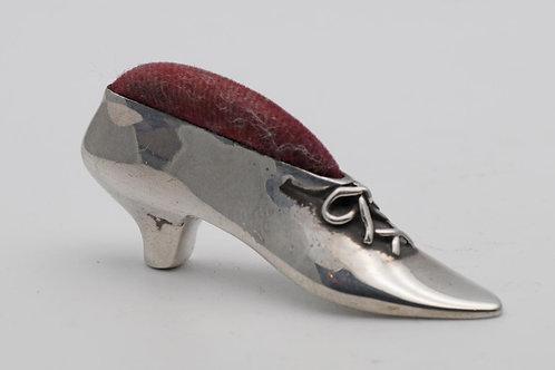 Silver shoe pin cushion
