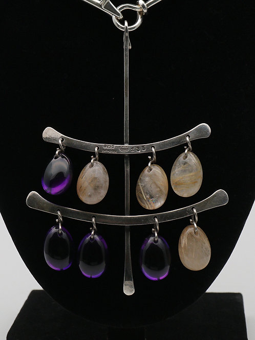 Georg Jensen Torun necklace with tear drop quartz