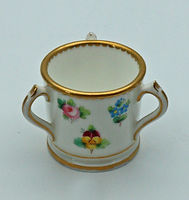 Miniature hand-painted Mintons loving cup 1891-1902. 3.2cm high