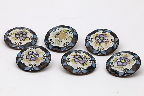 Set of six French antique buttons