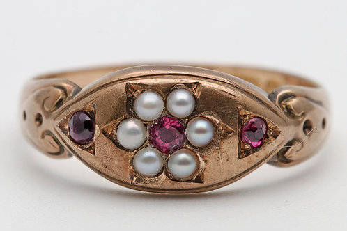 Victorian gold, ruby and pearl Chester ring