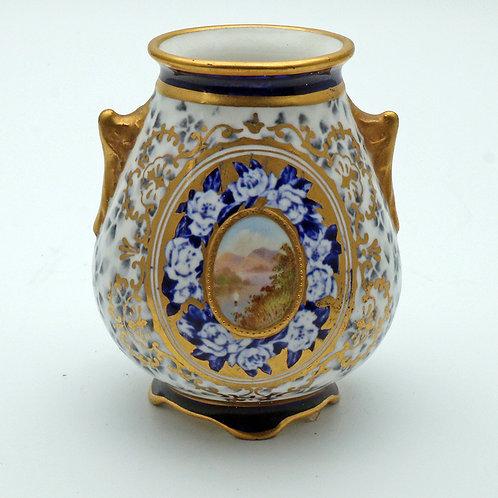 Coalport vase with hand-painted cartouche c.1890