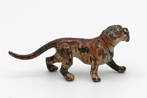 Austrian miniature cold painted bronze of a tiger still with remains of stripes