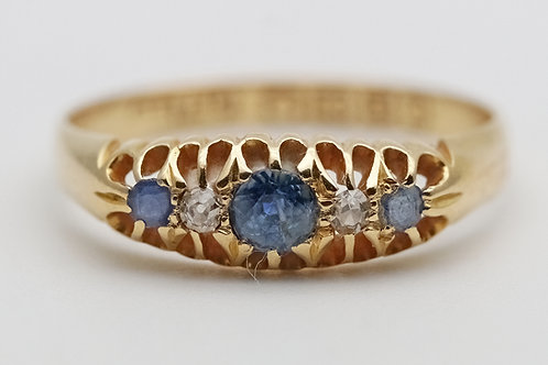 Early 20th century 18ct gold sapphire and diamond ring