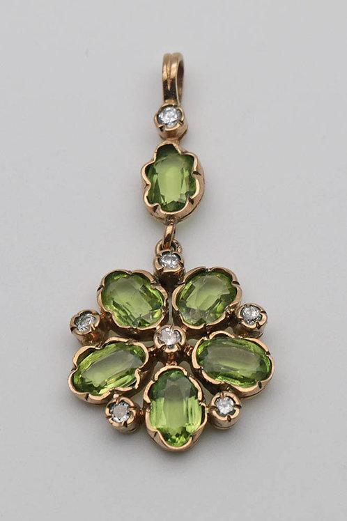 20th Century gold peridot and diamond pendant
