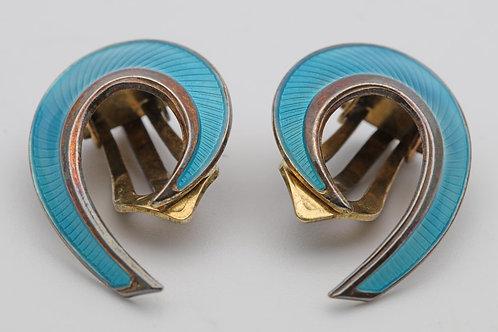 Norwegian Silver Gilt Ear Rings