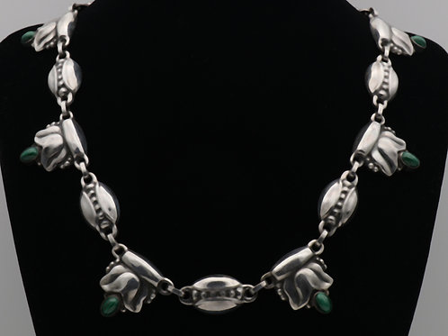 Georg Jensen silver & malachite necklace